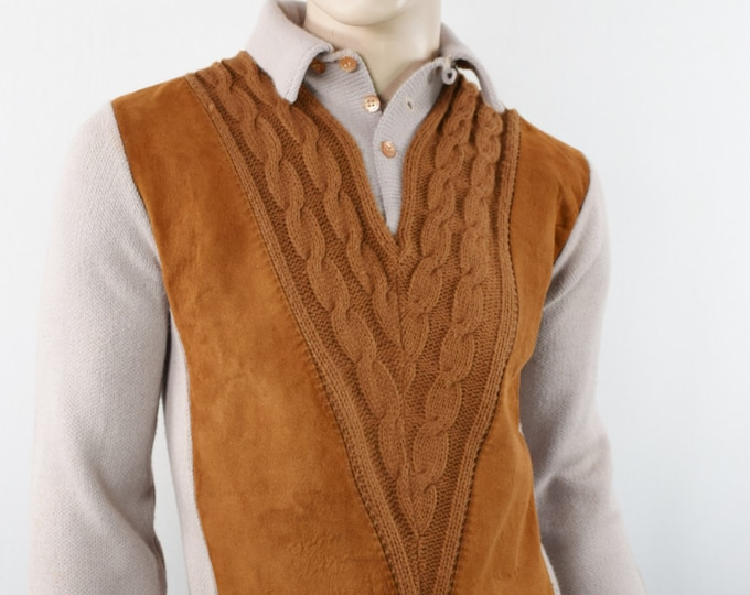 Vintage 1950's Men's Milwaukee Knit Suede Leather HiPsTeR Rat Pack AToMiC Era Mod Beatnik Sweater S