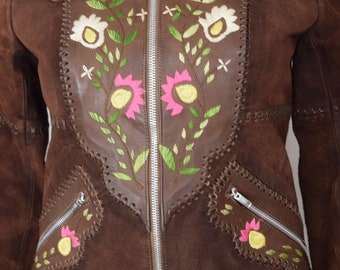 Vintage 1970's Women's CHAR Embroidered Flower Suede & Leather HiPPiE BoHo Western Couture Jacket Size 8 XS