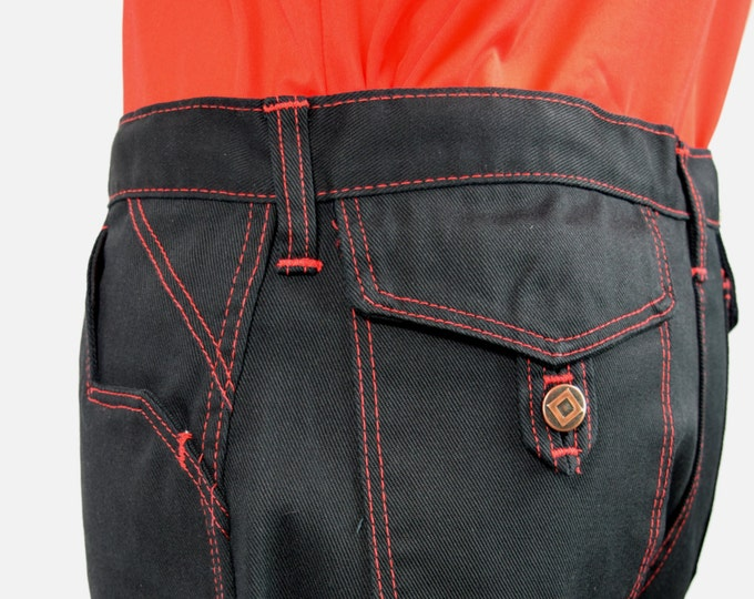 Nos Vintage 1970's SEARS JEANS JOINT Black Denim Red Overstitch MoD HiPsTeR RoCk STaR Mens 36 x 33 New with tags