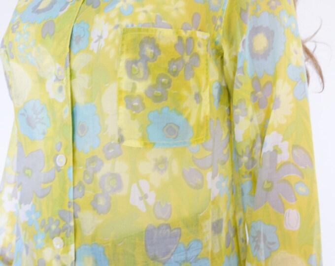 Sale - Nos Vintage 1960's TiGeR PaNts MOD BeAtNik Floral Tulip Blouse Top Shirt Beach Flower Power Size M  -  Designer Sample Dead Stock