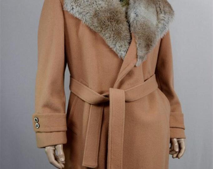 Vintage 1970's CAMPUS Men's Wool Belt HuGe FaUx Fur Collar PiMp Coat dIScO Trench Size L