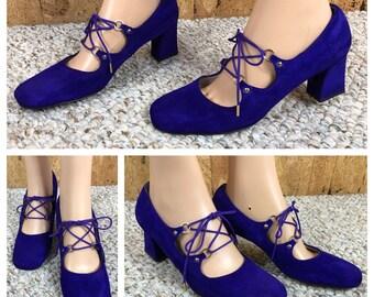 Sz 8 - NOS Vintage 1960's Purple Suede MOD Laced Tongueless Hippie Go-Go Women's Shoes Size 8 - Never Worn