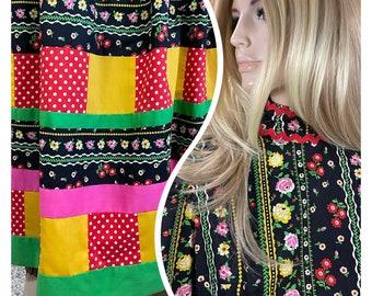 Coming soon - Vintage 1970's Women's Mountain Artisans Neon Patchwork Ric Rac Psychedelic Prairie Maxi Dress HiPPiE Boho Couture Size M