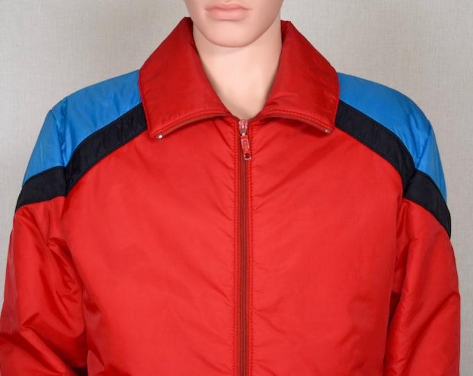 Vintage 1970's 80's Men's White Stag Chevron Striped Color Blocked Puffer Ski Jacket Size M