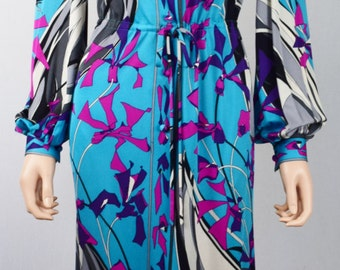 Vintage 1970's EMILIO PUCCI PsYcHeDeLiC Op ArT MoD Couture Long Silk Gown Dress Size S