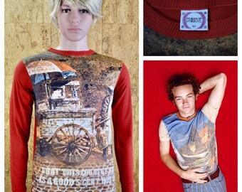 Vintage 1970's Men's Photo Print Shirt Patriotic Hot Dog Vendor Novelty Long Sleeve Shirt Size S
