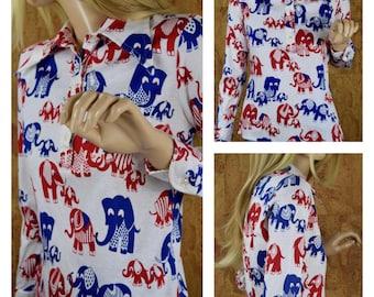 Vintage 1960's | 70's Women's MOD Novelty Cartoon ELEPHANT Cotton Knit Huge Butterfly Collared Shirt Top Size M