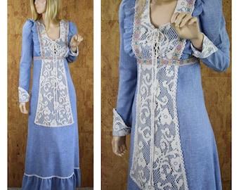 Vintage 1960's GUNNE SAX Black Label Victorian Edwardian Crocheted Lace Corseted Laced Hippie Boho Peasant Prairie Maxi Dress Size 11 M
