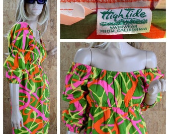 Vintage 1960's | 70's High Tide Swimwear - California Neon Go-Go Psychedelic Op Art Hawaiian Beach Pool Party MOD Mini Dress Size S M