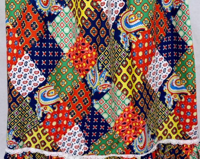 On Hold - reserved for C. - Vintage 1960's 70's Sears Jr. Bazaar Patchwork Print Prairie BoHo HiPPiE Skirt M 13