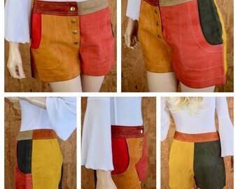 Vintage 1960's | 70's Women's Suede Patchwork Multicolored Color Blocked MOD Hippie Go Go Shorts Size S