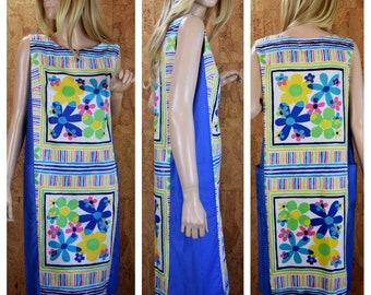 Vintage 1960's Andrade Daisy Flower Power Striped MOD HiPPiE Hawaiian Beach Pool  Resort Wear Cover Up Dress Size M