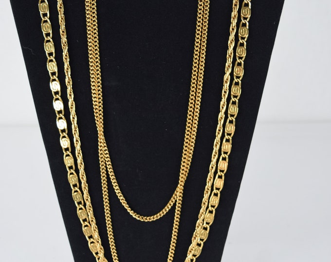 Vintage 70s 80s Designer MONET Signed Necklace Multi Strand 4 Layer Chain S Link Rope Gold Tone Disco Statement  Boho Hippie Chic Runway