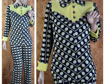 Vintage 1970's 2 Piece MOD Black White & Yellow Polka Dot Pop Op Art Hippie Bell Bottom Pants Set Suit Size S / M