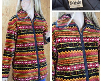 Vintage 1960's | 70's Women's PLUSH Chenille Tapestry Quilted Thick Hippie Boho Ski Jacket Coat Size M L