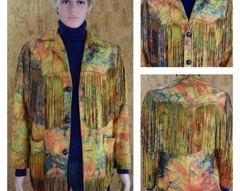 Vintage 1970's Psychedelic Tie Dyed Leather ROCK STAR Rich Hippie Hendrix Fringed Jacket Western Biker Men's Size S