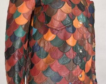 Vintage 1970's Women's Multi-Colored Patchwork Fish Scale Leather HiPPiE Disco Mod Jacket Size S