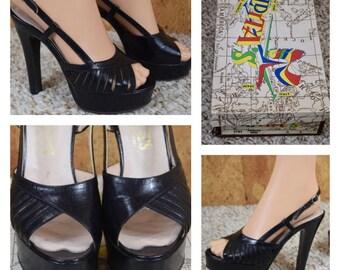 Sz 6 - Vintage 1970's ELDITA'S Women's Black Leather DISCO Sexy Platform Shoes Sandals Size 6