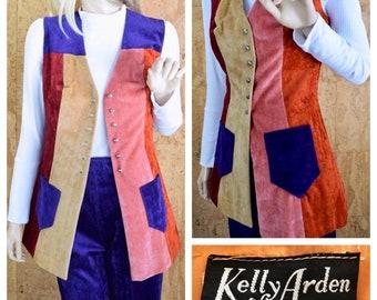 Vintage 1960's | 70's Women's  Kelly Arden 2 Piece ULTRA MOD Hippie Velvet Patchwork Vest Bell Bottom Pant Suit Size S 9