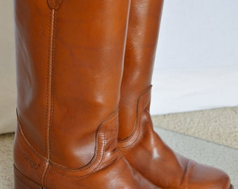 Vintage 1970's DINGO WeSteRn HiPPiE HiPsTeR Brown Leather Riding CaMpUs BooTs Men's Size 8.5 8 1/2 D  Women's size 10.5