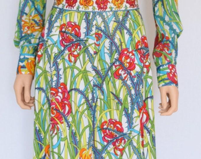 Vintage 1960's EMILIO PUCCI 2 Piece Blouse & Maxi Skirt HiPPiE BoHo Couture Outfit Dress Gown M 14