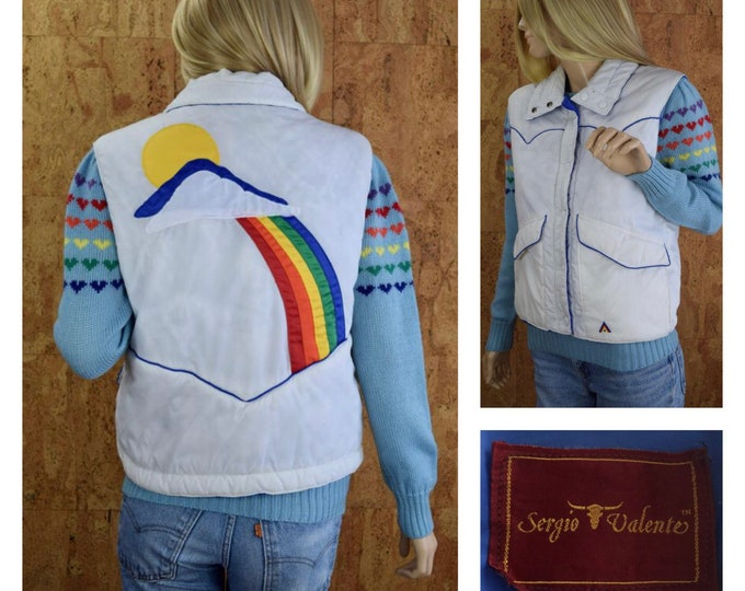 Featured listing image: Vintage 1980's Women's Sergio Valente Rainbow Cloud Sun Appliquéd Western Hippie Hipster Puffer Ski Vest Size M