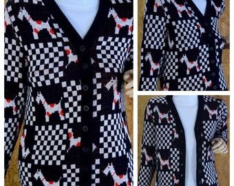 Vintage 1970's BOBBIE BROOKS Mod Checkered Polka Dot Dog Scottie Scottish Terrier Schnauzer Animal Novelty Cardigan Knit Sweater Size S