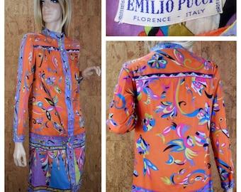 Vintage 1960's EMILIO PUCCI Psychedelic Hippie Mod Cotton Dress S