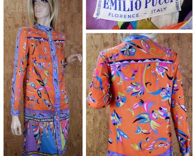 Featured listing image: Vintage 1960's EMILIO PUCCI Psychedelic Hippie Mod Cotton Dress S