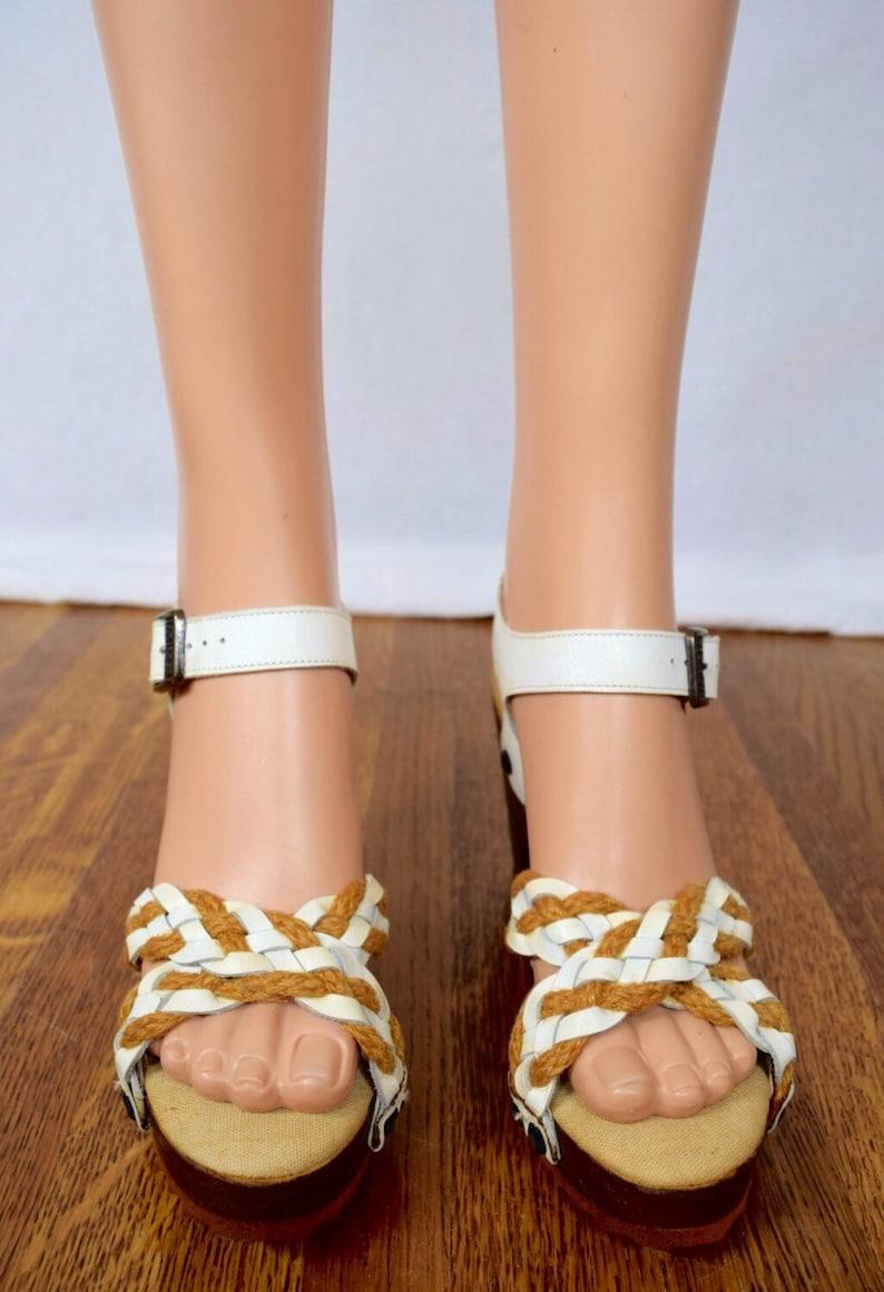 Nos Vintage 1970/'s Women/'s White Leather Wooden Disco PLaTfOrM HiPPiE BoHo Braided Wedged Spring Summer Shoes Sandals 6 M New In Box