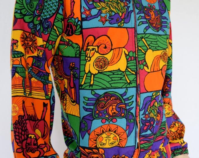 Vintage 1960's 70's Men's ReTrO ZODIAC AsTroLoGiCaL SiGnS MoD Surfer Cabana PoP ArT HiPPiE Summer of Love Jacket XL