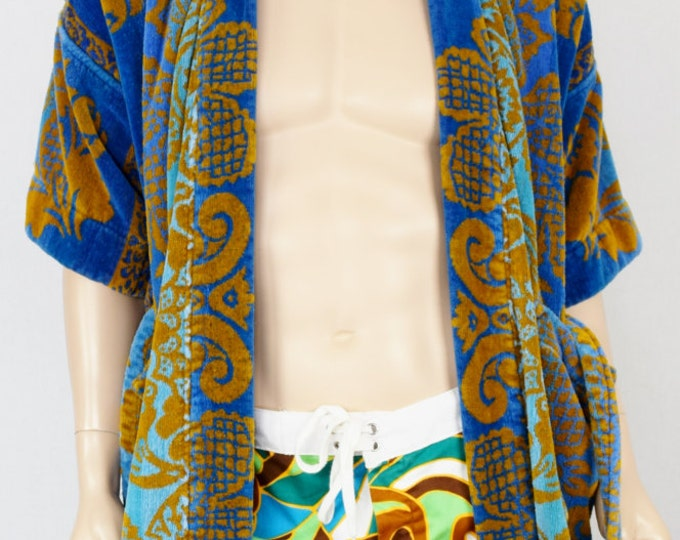 Vintage 1960's Men's SILTON Tapestry TeRRY CLoTH VeLouR SuRfeR BeaCH CaBaNa HIPPiE Robe Steve McQueen