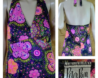 Vintage 1960's PETER PAN Psychedelic Neon Flower Hippie Boho Summer Beach Swimsuit Bikini Cover up Halter Dress Size M / L