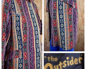 Vintage 1960's | 70's Cotton Needlepoint Tapestry Rich HiPPiE Chic BoHo Nehru Collared San Francisco Jacket Coat Size M / L