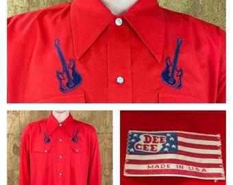 Rare Nos Vintage 1970's Dee Cee Embroidered Electric Guitar Western Rockabilly Hippie Rock Star Men's Shirt Size XL / XXL - Never Worn