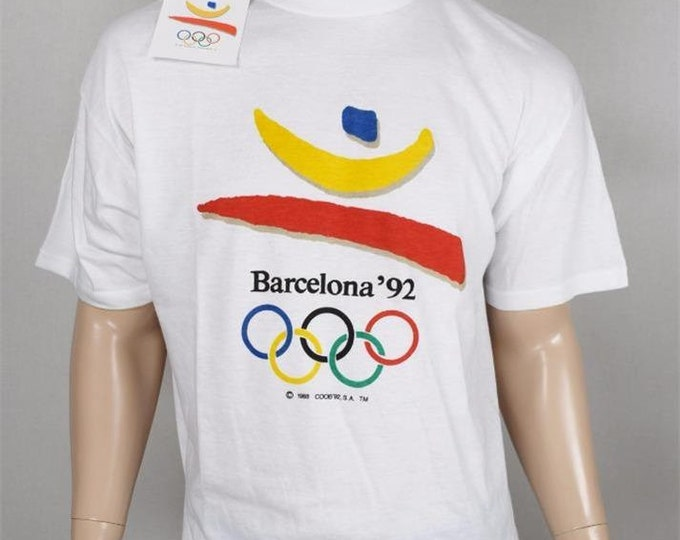 Vintage NWT NOS Official 1992 Barcelona Summer Oympics Souvenir T Shirt Rare XXL