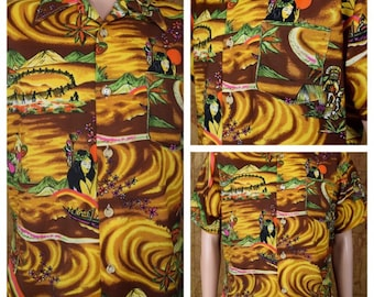 Vintage 1970's Men's Sears Kings Road Neon Psychedelic Hawaiian Tiki Scenic Hula Girl Polynesian Aloha Tropical Surfer Shirt Size L 46