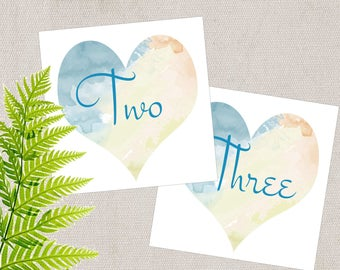 HeartTable Cards  Vintage Style Illustration,  HeartTable Numbers, Wedding Table Number, Table Tents, Heart Anniversary, Bridal Shower
