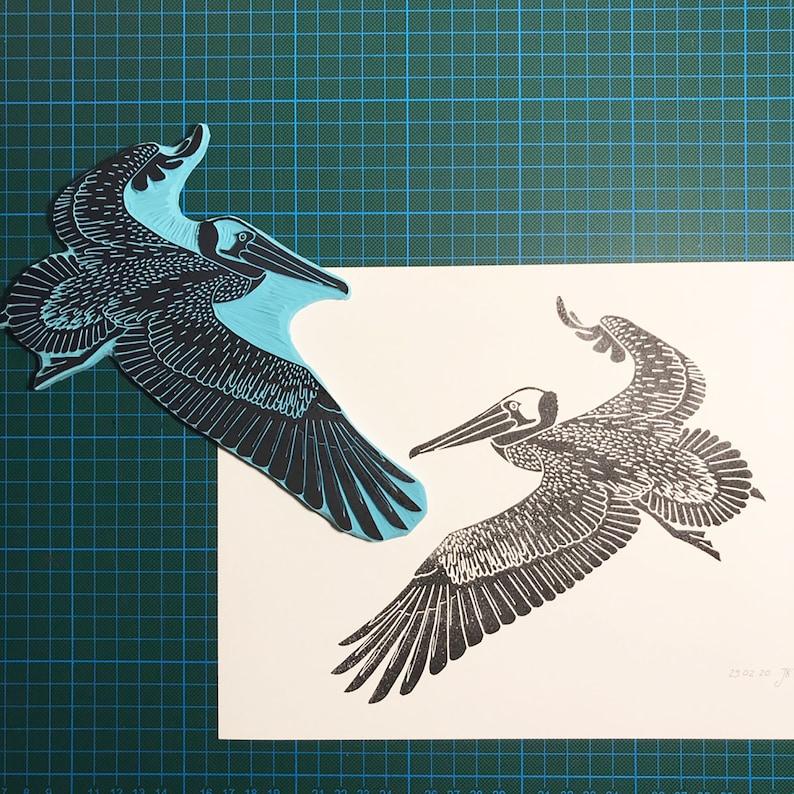 Pelican Print // Flying // Birds world // Block Printing // A4 image 0