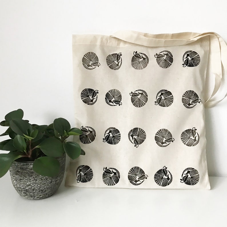 Armadillo print tote bag // cotton tote bag // hand printed // image 0