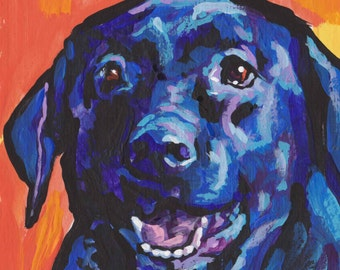 d2e42445 Labrador Retriever modern Dog art print black lab pop dog art bright colors  12x12