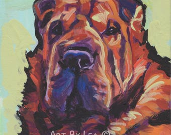 "SHAR PEI Dog art PORTRAIT print of pop art painting bright colors 8x8"" bear coat shar pei"