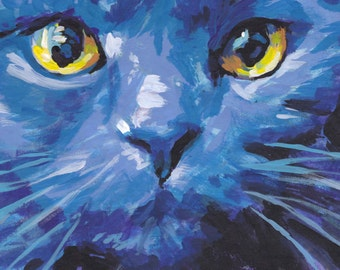 Russian Blue Cat portrait art print of pop bright colorful painting 8.5x11