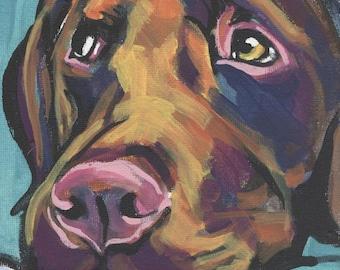"CHOCOLATE LAB Labrador Retriever Dog portrait art print of pop art painting 8x8"""
