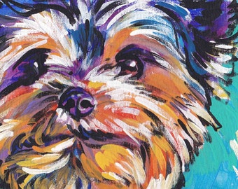 Yorkshire Terrier YORKIE ART PRINT pop art bright colors 13x19