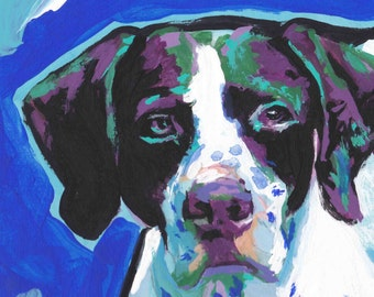 English Pointer portrait PRINT modern of colorful pop dog art painting 8.5x11