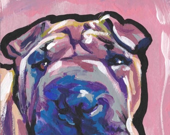 Chinese Shar pei Dog art print of pop art painting by LEA bright colors 13x19""