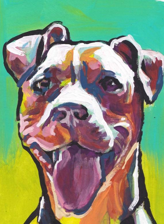 Pitbull pit bull dog art print of pop art painting bright colors 13x19