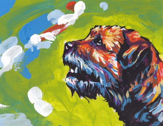 Border Terrier Dog Portrait Art Print Of Pop Art Dog Painting Etsy