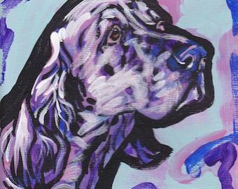 English Setter Dog portrait art print modern pop dog art bright colors 8x8 giclee print